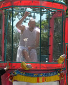 Even the Tooth Fairy took a turn in the dunking booth, taunting the crowd into paying for the chance to dunk him.