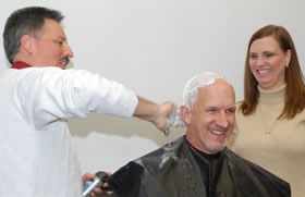 Ottenga used high-end shaving cream to ensure a close, shiny shave.