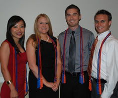 Class of 2010 members graduating magna cum laude on May 21 are, from left: Maggie Wang, Erin Smith, Phillip Kraver, and Chris Ingalls.