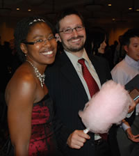 Banquet attendees enjoyed cotton candy (candyfloss) after their meal.