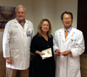 From left: Dr. Frank Dolwick, Dr. Kim, and Dr. Teresa A. Dolan.